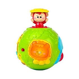 Đồ chơi phát triển vận động - Bóng lăn tập bò cho bé Winfun 0778 có nhạc kèm chú khỉ ú òa vui nhộn - nhựa an toàn BPA FREE - tặng đồ chơi tắm 2 món