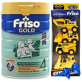 Sữa Bột Friso Gold 4 Cho Trẻ Từ 2-4 Tuổi 900g + Tặng bộ đồ chơi xe công trình