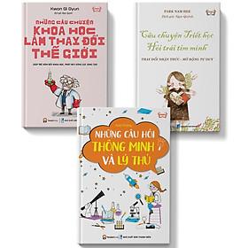 Sách - combo 3 cuốn thiếu nhi Những câu chuyện khoa học làm thay đổi thế giới + Câu chuyện triết học  hỏi trái tim mình + Những câu hỏi thông minh lý thú