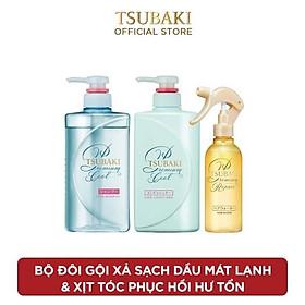 Bộ đôi gội xả sạch dầu mát lạnh và Xịt dưỡng tóc phục hồi hư tổn Tsubaki