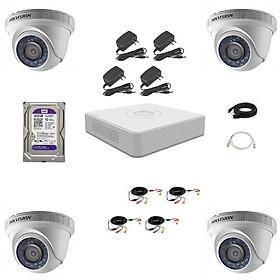 Trọn bộ 4 Camera quan sát HD-TVI Hồng Ngoại 2MP HIKVISION - Hàng chính hãng