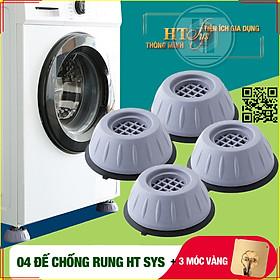 Combo 04 đế cao su chống rung máy giặt - HT SYS - Đế chống rung máy giặt - Đế chống ồn máy giặt, máy sấy,tủ lạnh, bàn ghế +01 Sét 3 móc dính dán tường vàng tài lộc HT SYS