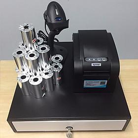 Trọn bộ 4 món TL071 gồm : Máy in bill và in tem nhãn K80+ Máy quét mã vạch + Két thu ngân + Giấy in bill ( Hàng nhập khẩu)