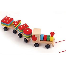 Đoàn tàu gỗ xếp  hình khối Bộ đồ chơi giáo dục