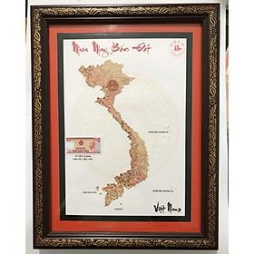 Tranh thủ công Việt Nam Mua may bắn đắt ghép từ tiền cổ tờ 10 ngàn đồng Việt Nam, trưng bày biếu tặng