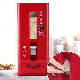 Thùng đựng gạo Nhật Bản GeLife881. Tặng 30 gang tay làm bếp. Chế độ lấy gạo từ dưới thông minh. Chống bụi, côn trùng tuyêt đối. Chống ẩm theo Tiêu chuẩn Nhật Bản