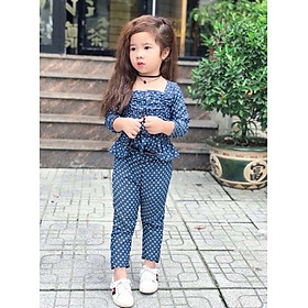 Bộ quần áo dài tay bé gái vải co dãn cổ vuông điệu đà