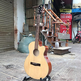 Đàn guitar AC mặt gỗ thông nguyên tấm giá rẻ cho người mới chơi có ty chống cong cần