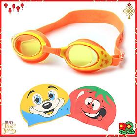 Kính Bơi Cho Trẻ Em  cao cấp chống tia UV ,chống sương mờ chất liệu ABS thân thiện với trẻ em, mặt kính trong , giúp quan sát tốt khi bơi(màu cam )-Tặng kèm nón bơi hoạt hình ( Màu ngẫu nhiên )