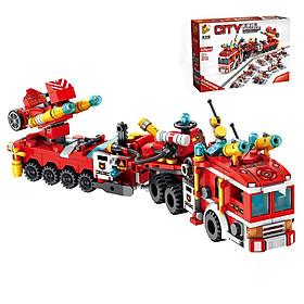 Bộ đồ chơi lắp ghép xếp hình Siêu Xe Cứu Hoả khổng lồ - Lắp ráp 12 phương tiện cứu hoả thành Siêu Xe Cứu Hoả  - Lắp ghép 12 trong 1 và 25 cách biến hoá - Bao gồm 557 mảnh ghép