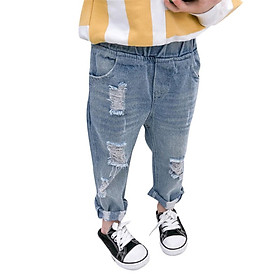 Children Boys Girls Ripped Hole Jeans Fashion Teens Light Blue Slim Denim Pants