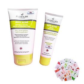 Floslek Anti Acne  - Bộ 2 Sữa rửa mặt làm sạch kháng khuẩn 125ml + Kem điều tiết nhờn, kiềm dầu, giảm mụn ngừa thâm 50ml + Tặng ngay 2 mặt nạ Dermal bất kỳ