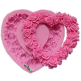 Khuôn silicon làm bánh, rau câu hình trái tim viền hoa hồng