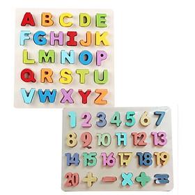 Combo bảng tiếng Anh 3D in hoa và bảng 20 số 3D Mykids bằng gỗ- đồ chơi trí tuệ
