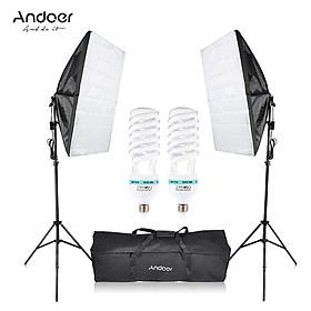 Bộ Đèn Chụp Ảnh Andoer Cung Cấp Ánh Sáng Tối Ưu Với Nhiệt Độ Màu 5500K Gồm Bóng Đèn (2 x 135W) + Chân Đế (2 Cái) + Softbox (2 Cái ) + Túi Đựng (1 Cái)