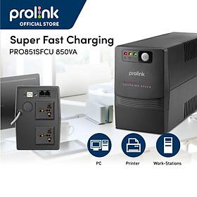 Bộ nguồn cấp điện liên tục UPS PROLiNK 850VA (PRO851SFC)  Công suất 480W, tích hợp bộ AVR, sạc siêu nhanh - Hàng chính hãng