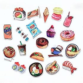 Bộ 20 Sticker Food Chủ Đề Món Ăn Uống (2020) Hình Dán Chống Nước Decal Chất Lượng Cao Trang Trí Va Li Du Lịch, Xe Đạp, Xe Máy, Laptop, Nón Bảo Hiểm, Máy Tính Học Sinh, Tủ Quần Áo, Nắp Lưng Điện Thoại