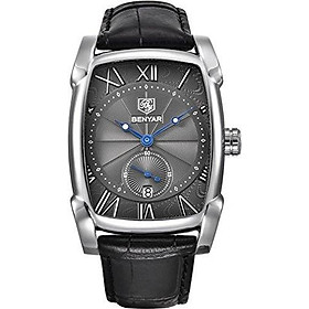 BENYAR Waterproof Classic Rectangle Case Vintage Design Watches Leather Strap Business Casual Wrist Watch for Men