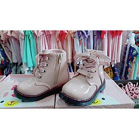 Giày bốt cổ cao da bóng màu hồng cho bé gái