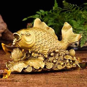Tượng linh vật cá chép cưỡi hoa sen phun châu bằng đồng thau phong thủy Hồng Thắng