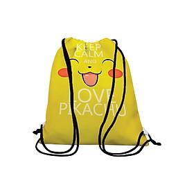Túi Dây Rút Unisex In Hình Keep Calm And Love Pikachu - BDMA135