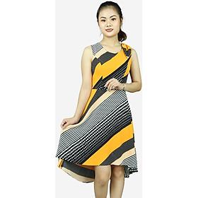 Đầm nữ sát nách vàng đen DDD072VDE