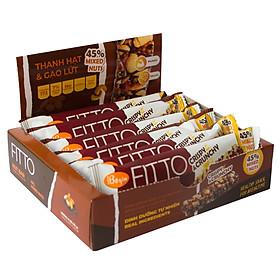 Bánh Ăn Sáng Ngũ Cốc Gạo Lứt Và Các Loại Hạt Điều Đậu Phộng Mè – FITTO Chocolate Bar 210gr (Hộp 6 thanh hạt)