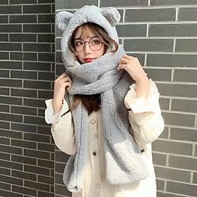 Mũ tai gấu lông chùm đầu choàng cổ cực ấm áp