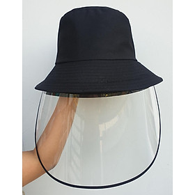 Nón chống giọt bắn nước bọt, chống khói bụi có tấm chắn không gây láo mắt, vải 2 lớp trơn không thêu form người lớn màu đen
