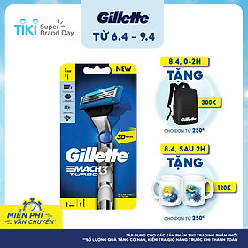 Dao cạo Gillette Mach 3 Turbo 3D 1 cán + 2 đầu lưỡi