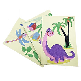 Bộ 3 đồ chơi thủ công tranh cát tô màu cho bé Kích thước A5: hình Khủng long, bông hoa, chuồng chuồng, tặng nguyên liệu làm túi giấy cho bé.