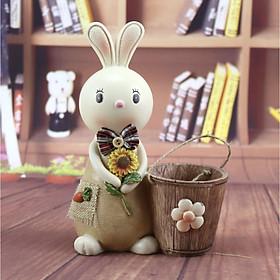 Cắm bút nhựa kèm ống tiết kiệm hình Thỏ cute cầm hoa hướng dương