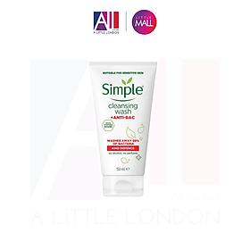 Sữa rửa mặt Simple Kind Defence Cleansing Wash + Anti Bac 150ml (Bill Anh)