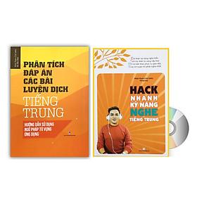 Combo 2 sách Phân tích đáp án các bài luyện dịch Tiếng Trung và Hack nhanh kỹ năng nghe tiếng Trung+ DVD tài liệu
