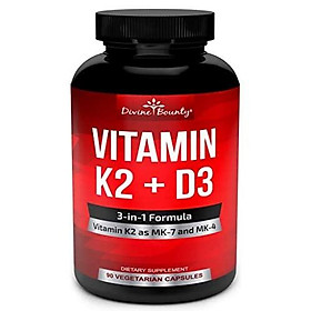 Vitamin K2 (MK7 & MK4) with D3 Supplement - Vitamin K & D as MK-7 100mcg, MK-4 500mcg, and 5000 IU Vitamin D3-3-in-1 Formula for Bone and Heart Support - 90 Non-GMO Vegetarian Capsules