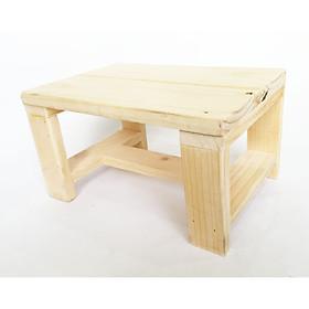 Ghế đẩu vintage, ghế giặt đồ từ gỗ thông tự nhiên, Ghế gỗ kê chân văn phòng (KT D28xR20xC16cm)
