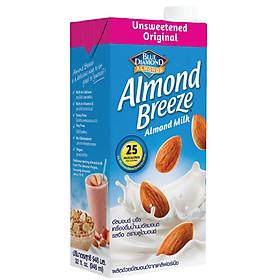 Sữa hạt hạnh nhân ALMOND BREEZE NGUYÊN CHẤT KHÔNG ĐƯỜNG Hộp 946ml - Sản phẩm của TẬP ĐOÀN BLUE DIAMOND MỸ - Đứng đầu về sản lượng tiêu thụ tại Mỹ