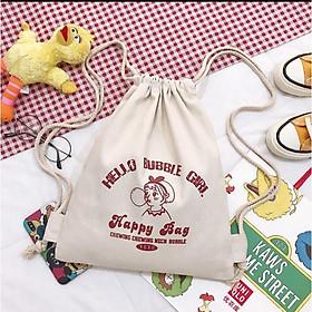 Balo dây rút happy bag kích thước 50 × 37, chất vải dày , đựng sách vở tài liệu siêu cute