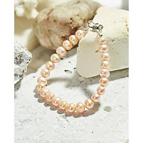 Vòng tay ngọc trai nuôi thiên nhiên hồng đơn giản thanh lịch dành cho phái nữ khoá bạc thái 925 cá tính - Cami.J