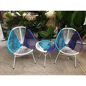 Bộ bàn ghế dây văng ban công, cafe -DV001 - Xanh