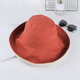 Mũ vải kaki rộng vành che nắng