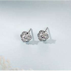 Khuyên tai nữ bạc Ý 925 - Bông tai Bạc Nữ  925  bông hoa  đính đá xinh