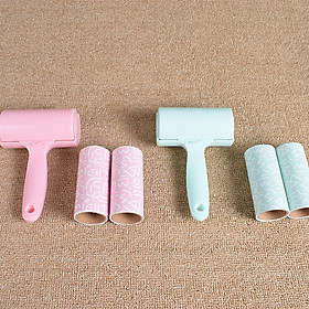 Cây lăn bụi có 2 cuộn giấy giúp làm sạch bụi bẩn trên quần áo ,chăn nệm,ghế ,nội thất  - giao màu ngẫu nhiên