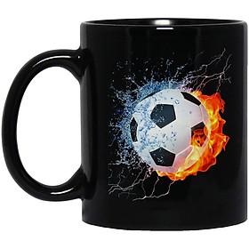 Cốc Sứ Cao Cấp In họa tiết Quả bóng đá  lửa nước