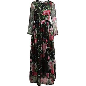 Đầm Maxi Tay Dài In Hoa Vintage Nữ