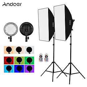 Andoer Studio Photography 2.4G RGB LED Light Softbox Kit with 45W Dimmable RGB LED Light * 2 + 50*70cm Softbox * 2 + 2M