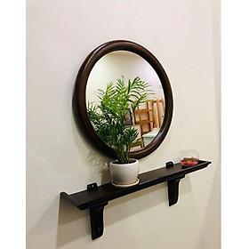 Gương Soi Tròn Gắn Tường gỗ sồi kèm kệ cao cấp