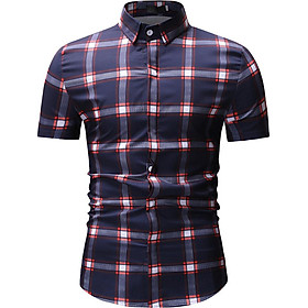 Fun Male Plaid Printed Leisure Shirt of Short Sleeves and Turn-down Top Cardigan Slim Costume