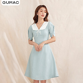Đầm nữ GUMAC DA1004 thiết kế cổ trắng đăng ten phong cách hiện đại