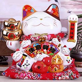 Mèo Thần Tài Vẫy Tay Cầm Nén Vàng